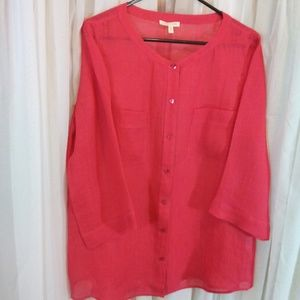 Eileen Fisher Orange 100% Linen Button Down Top